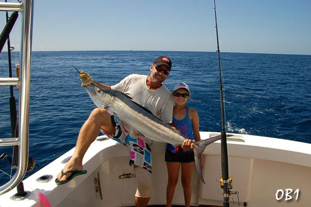 Leigh O'Brien gives daughter Meg's fish a hoist for a quick pic before relase on OB1. Carrying on the family tradition as Leigh was also a very accomplished junior angler once upon a time ;-)